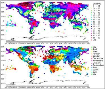 Amplitude (en haut) et phase (en bas) de l'oscillation de la hauteur de précipitation réduite, moyennée dans la bande 8-16 mois et sur la période d'observation 1901-2009. Les régions soumises à une forte oscillation annuelle de la pluie sont peu impactées par les anomalies thermiques des ondes baroclines.